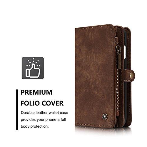 JIALUN-Caja del teléfono o cubierta Cubierta elegante de la caja del final de la carpeta desprendible del iPhone para el iPhone 7 Protege tu teléfono ( Color : Coffe ) Coffe