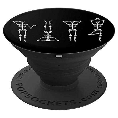 Yoga Poses Skeleton Skull Gym Meditation Guide PopSockets Grip and Stand for Phones and Tablets -