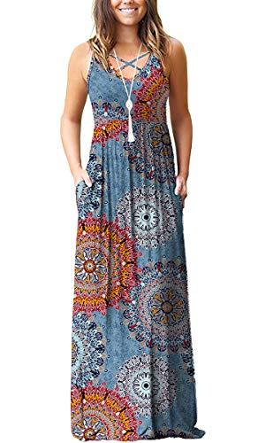 LILBETTER Women's Casual Loose Long Dress Sleeveless Floral Print Maxi Dresses with Pockets(Mix Flower Blue,XS) (Print Mix Dress)