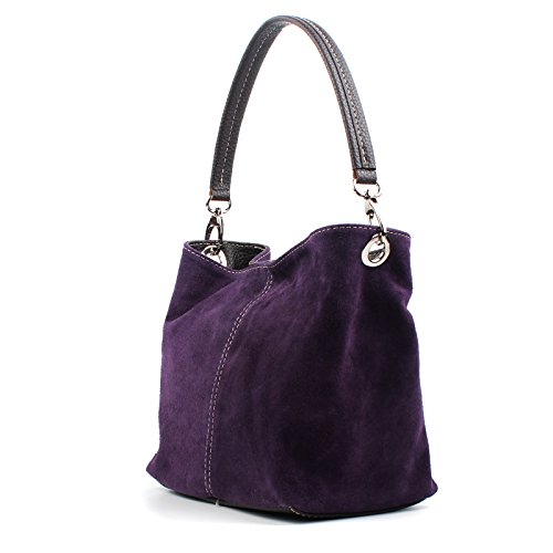 Shoulder Leather Bag Handbag Dark Aossta Tote Suede Real Ladies Purple Small Italian wAxwnCYqUI