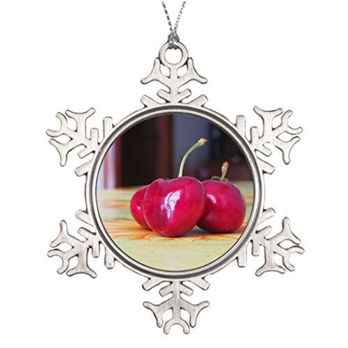 (Tree Branch Decoration Fresh cherries on the table Christmas House Decorations Red)
