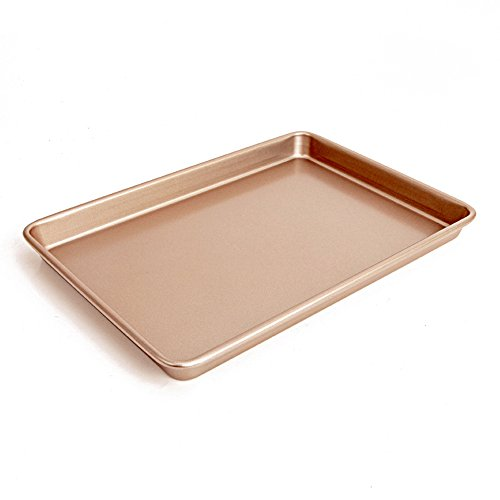 13 x 9 inch Carbon Steel Baking Pan, Momugs Nonstick Cookie Sheet Roasting Tray for Toaster Oven Cake, Gold For Sale