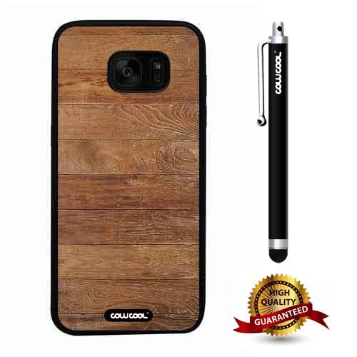 Galaxy S7 edge Case, Wood Texture Case, Cowcool Ultra Thin Soft Silicone Case for Samsung Galaxy S7 edge - Weathered Plank Wood Texture -