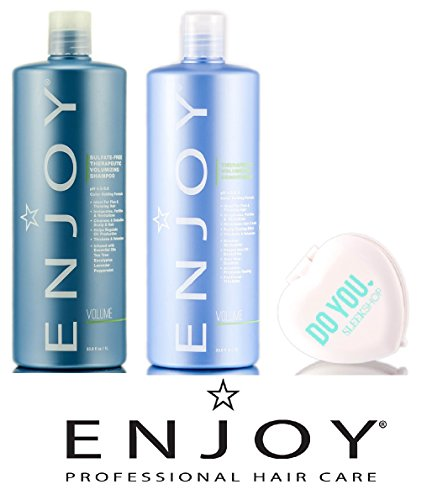 Enjoy Sulfate-Free Therapeutic Volumizing Shampoo & Conditioner DUO Set (with Sleek Compact Mirror) (33.8 oz / 1000ml Large Liter - Conditioner Aromatherapeutic Hair