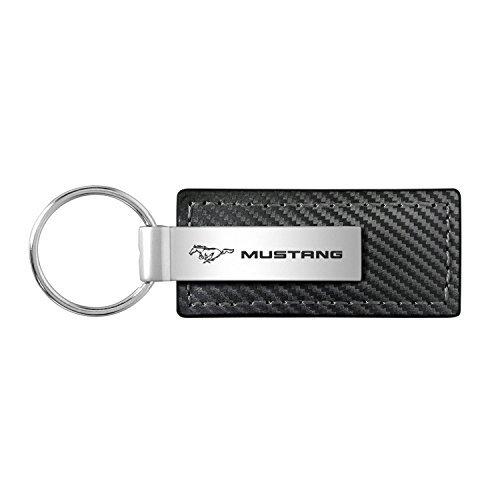 Au-Tomotive Gold, INC. Ford Mustang Black Carbon Fiber Texture Leather Key Chain ()