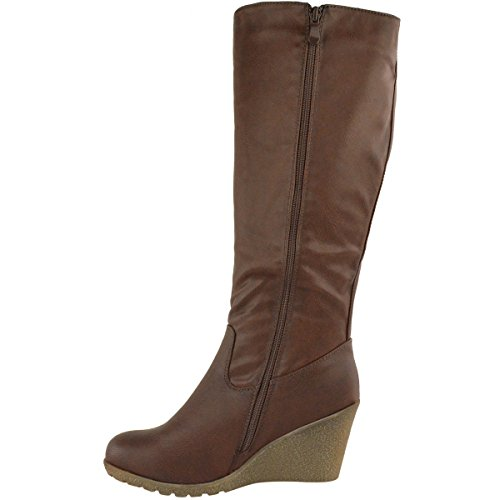 Fashion Thirsty Womens Wedge Heel Knee High Mid Calf Wide Leg Elastic Winter Biker Boots Size Brown Faux Leather 5wVekD0yO