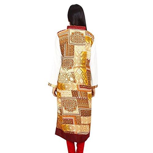 Diseñador indio de Bollywood Mujeres Rayón vestido superior de la túnica étnico Kurti algodón Beige y amarillo