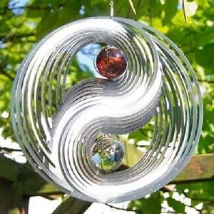 3D Steel Yin & Yang Wind Spinner with Crystal Balls and Swivel Hook