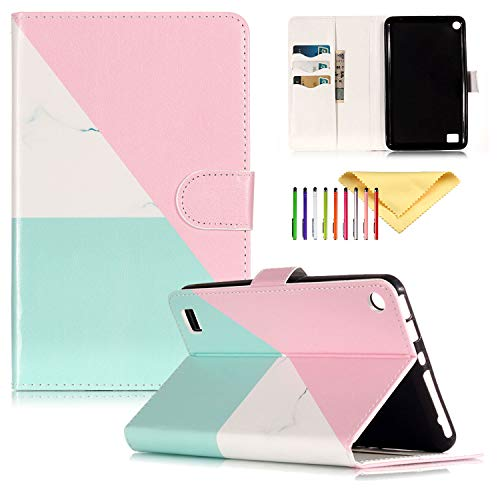 - Kindle Fire 7 Case Kids (7th/5th Generation), Cookk Slim Folio Stand PU Leather Wallet Shockproof Shell with Cards Holder Pocket Magnetic Cover for Amazon Fire 7 Tablet 2017/2015, Tricolor Pink