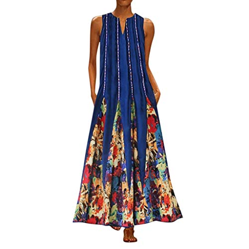 【MOHOLL】 Women's Floral Print Flowy Party Maxi Dress Casual Sleeveless Vintage Bohemian V Neck Maxi Dress Green