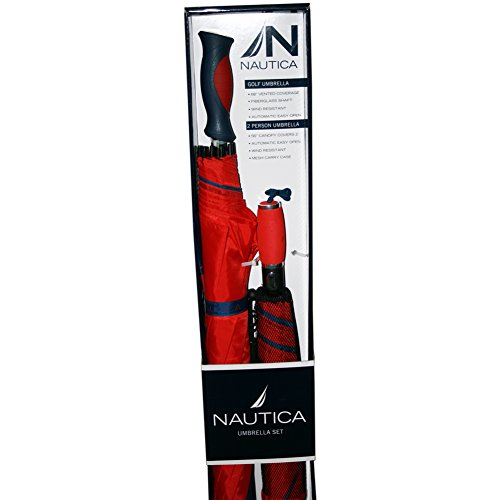 Nautica 2-Person Umbrella + Golf Umbrella Set - Blue/Red