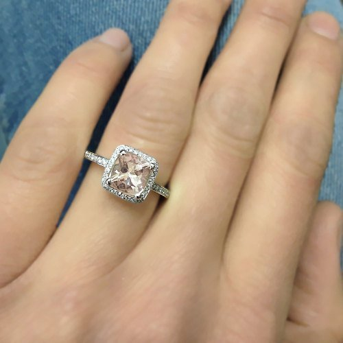 Vintage Natural Cushion Cut Halo Morganite Engagement Ring 14k Rose Gold or Yellow Gold or White Gold 7x7mm Cushion Pink Peach Morganite Ring HANDMADE Free Shipping