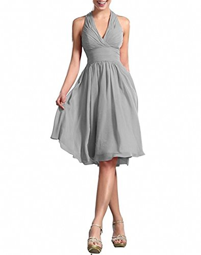 Homecoming Length Neck Chiffon Knee Dress Botong Dresses V Grey Bridesmaid 6XqwWO