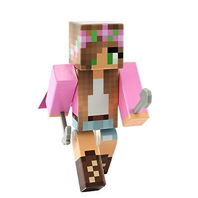 Pink Flower Girl Action Figure Toy, 4 Inch Custom Series Figurines by EnderToys
