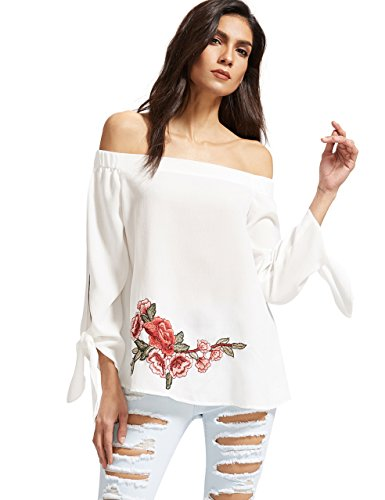 ROMWE Women's Off Shoulder Top Loose Long Sleeve Embroidered Flower Blouse Wihte M