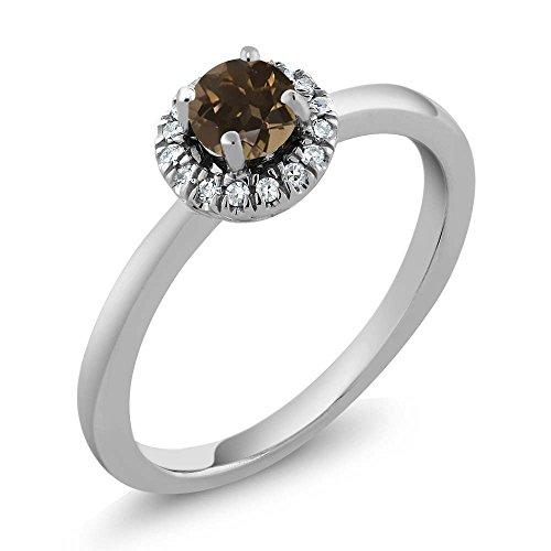 0.34 Ct Round Halo Brown Smoky Quartz H/I Diamond 18K White Gold Engagement Ring (Diamond 0.34 Cut Ct Emerald)