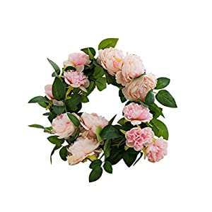 Artificial Rose Flower Garland Party Flower Wreath Western Peony Buds Core Vine Rose Wedding Decor Soft Silk Flower for Birthday Wedding Party Christmas Xmas Shopping Mall Decorations 16