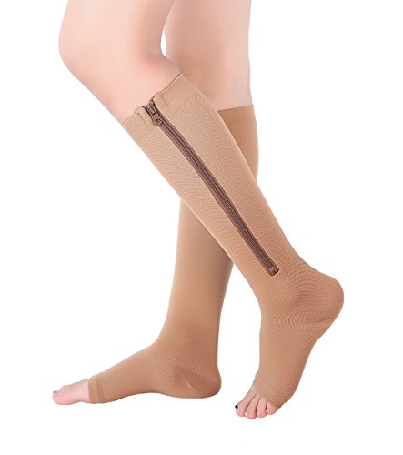 Knee Open Toe Support Stockings - 2 Pairs Open Toe Knee Length Zipper Compression Socks 15-20 mmHg Support 3 SizebeigeL/XL