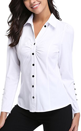 MISS MOLY Women's White Button Down Shirt V Neck Collar Puff Sleeve Office M by MISS MOLY (Image #3)'