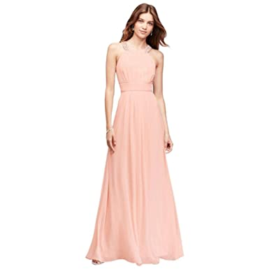 0d2b940583 Chiffon Long Bridesmaid Dress with Beaded Neckline Style EJ8M7586 ...