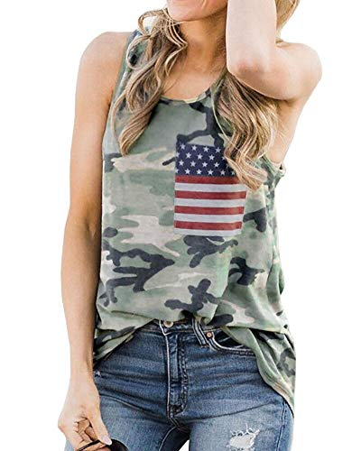 American Flag Camouflage Tank Tops Women 4th July USA Flag Patriotic Sleeveless Loose Casual Tee Tops