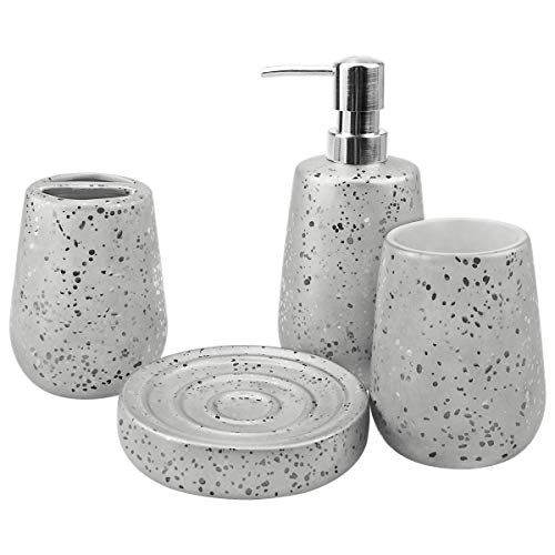 4-Piece Ceramic Bathroom Accessories Set, Creative Complete Bathroom Ensemble Sets for Bath Decor Includes Soap Dispenser Pump, Toothbrush Holder, Tumbler, Soap Dish, Gray and Silver Ideas Home Gift
