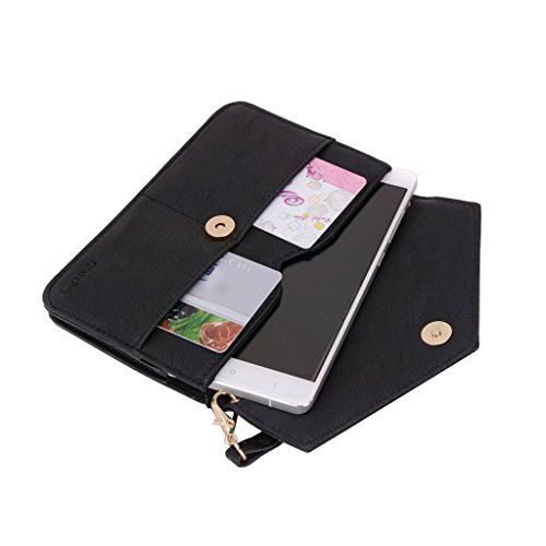 Conze Mujer embrague cartera todo bolsa con correas de hombro para Smart Phone para Gionee Pioneer P6/P5L/P4/P4S negro negro negro