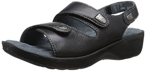 Softwalk Women's Bolivia Wedge Sandal Black Glove Leather
