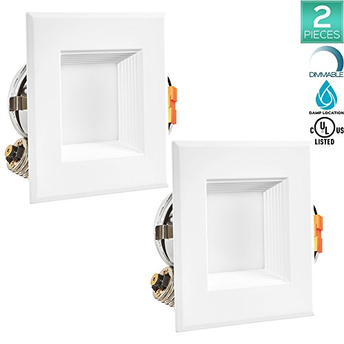 2-Pack Luxrite 4 Inch LED Square Downlight, 10W (60W Equi...