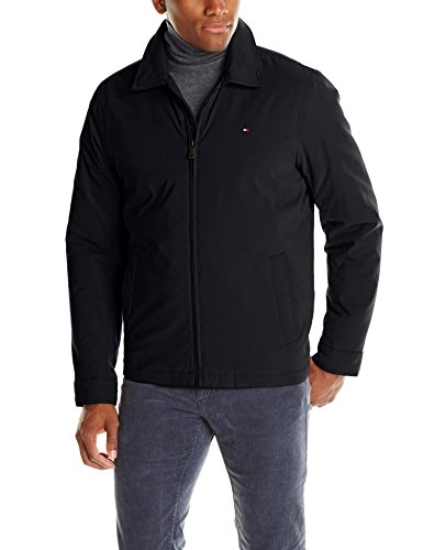 Tommy Hilfiger Men's Micro-Twill Open Bottom Zip Front Jacket, Black, Medium