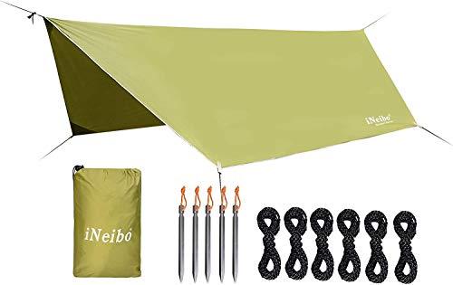 41g%2BOYZQvaL iNeibo Tarp 3x4 Wasserdicht Zeltplane Sonnenschutz Regenschutz mit 5 Zeltheringe und 6 Lange Schnüre Camping Zubehör…