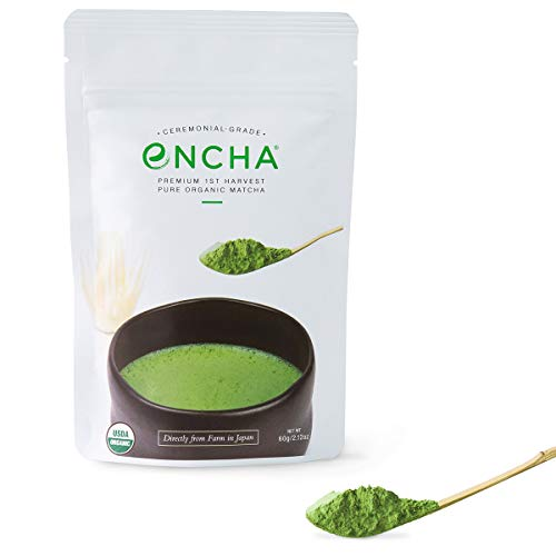 Encha Ceremonial Organic Matcha (USDA Organic Certificate and Antioxidant Content Listed, Premium First Harvest Directly from Farm in Uji, Japan, 60g/2.12oz in Resealable Pouch) by Encha (Image #6)