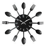 large wooden spoon wall decor - Wall Clock Spoon Fork Creative Wall Mounted Clocks Modern Design Decorative Black