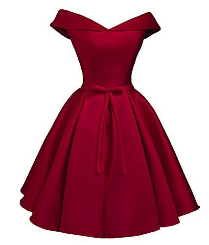 Drehouse Off-the-épaule Robes De Mariée En Satin Bordeaux Robe Courte De Demoiselle D'honneur