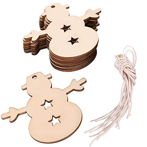 click-me 20Pcs Christmas Wooden Snowman Ornaments Hanging Cutouts Unfinished Wood Slice for Kids Crafts Wedding DIY Christmas Tree Decoration with Strings (Snowman) -