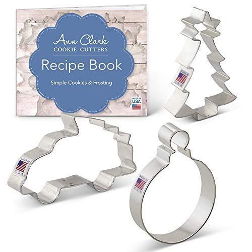 Christmas/Xmas Tree Cookie Cutter Set - 3 piece - Truck with Tree, Christmas Tree, and Round Ornament - Ann Clark - USA Made Steel