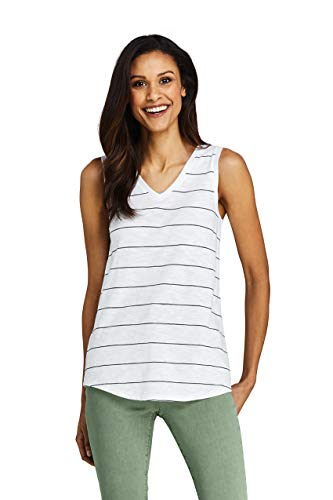 (Lands' End Women's Petite Stripe Slub Jersey V-Neck Tank Top, XS, Crisp White Stripe)