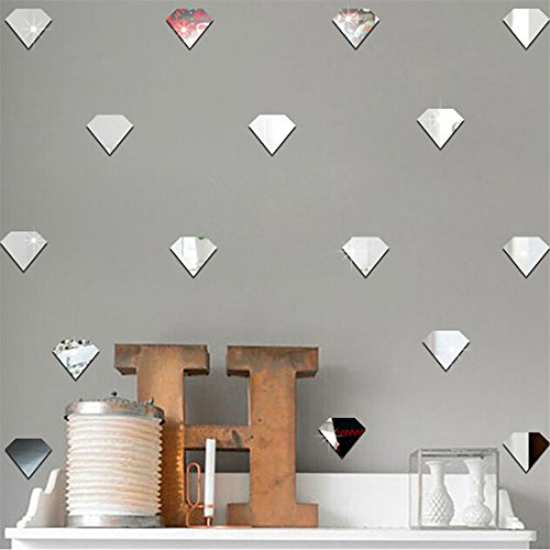 UINKE Geometric Diamond Shape 3D Mirror Wall Stickers Removable DIY Acrylic Wall Decor for Living Room Bathroom Dining Room,Silver by UINKE (Image #3)
