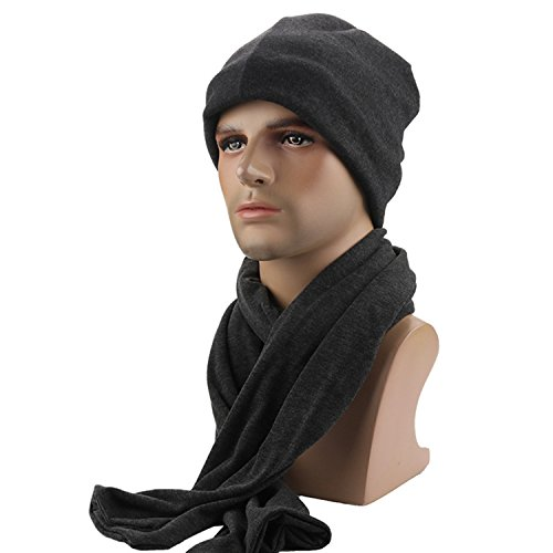 Vsace Men Soft Lined Thick Cotton Knit Skullies Cap Warm Slouchy Beanies Hat Men Cap Scarf Set (Black) (Scarf Tech)