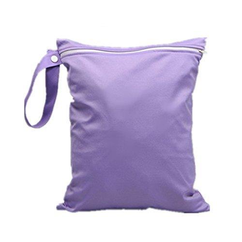 TOOGOO(R)bolsillo con cremallera impermeable pano del bebe reutilizable lavable bolsa de panales purpura SHOMAGT18290