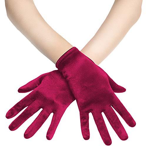 (BABEYOND Short Opera Satin Gloves Wrist Banquet Gloves Tea Party Dancing Gloves (Wine Red))
