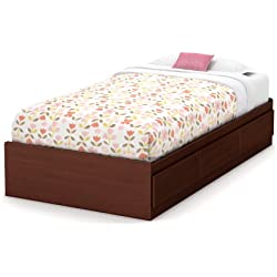 South Shore 39-Inch Little Treasures Mates Bed with 3 Drawers, Twin, Royal Cherry
