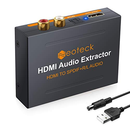 Neoteck 1080P HDMI Audio Extractor, HDMI to HDMI + Optical TOSLINK SPDIF + Analog RCA L/R Stereo Audio Video Spiltter Adapter Converter for Blu-ray DVD Player Xbox One SKY HD Box PS3 PS4
