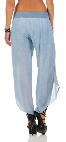 ZARMEXX Señoras bloomers el harem del harem del verano holgados pantalones de la yoga culottes pantalones de ocio Harem Un tamaño azul claro