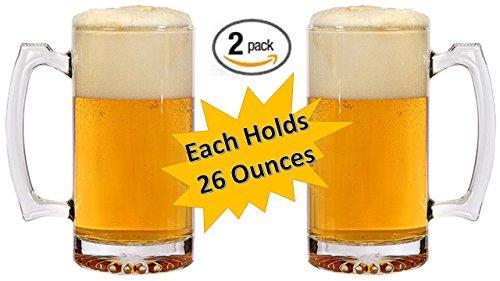 Beer Mugs - Heavy Duty Glass Mug - Tall Drinking Glass - Thick Glass Keeps Beer Ice Cold! - 26 Oz Beverage Mug - Large Mugs