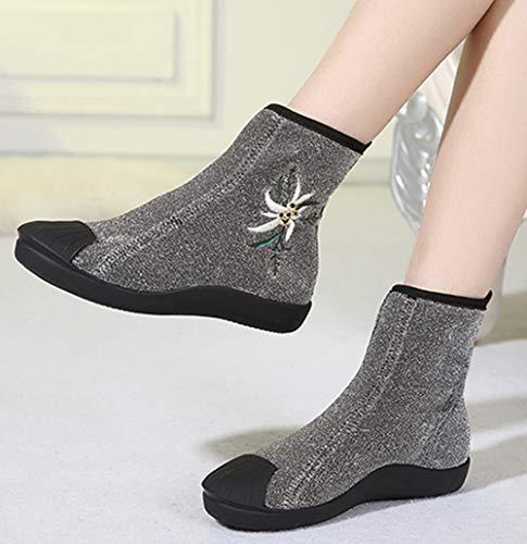 Elastischen Stiefel Boden Martin Frauen Flachen Schuhe Casual Stiefeletten Wilden Warme qZwE6R