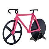 Brand New Bicycle Pizza Cutter Dual Stainless Steel Bike Pizza Cutter Wheel (Pink & Black)