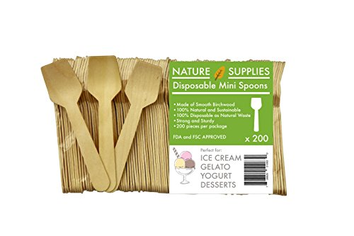 Price comparison product image Mini Wooden Spoons 3.7 inches set 200pc Eco Friendly Biodegredable Compostable ideal for Sugar Scrubs Gelato Ice Cream Desserts - Go GREEN!