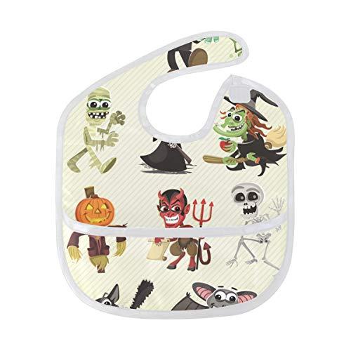 (LORVIES Hallowen Characters Baby Feeding Bib Waterproof Saliva Apron with Crumb Catcher Reflux Drool Teething for Baby Toddler Kids)