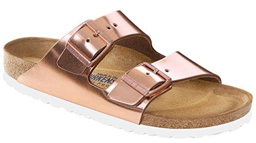 Birkenstock Womens Arizona Soft Footbed Sandal Copper Leather White Sole Size 35 N EU ZNtHJtC